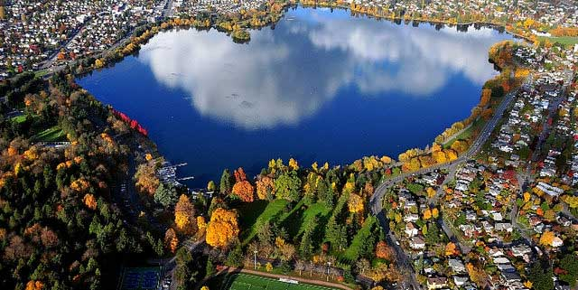 Overhead view of Greenlake wa